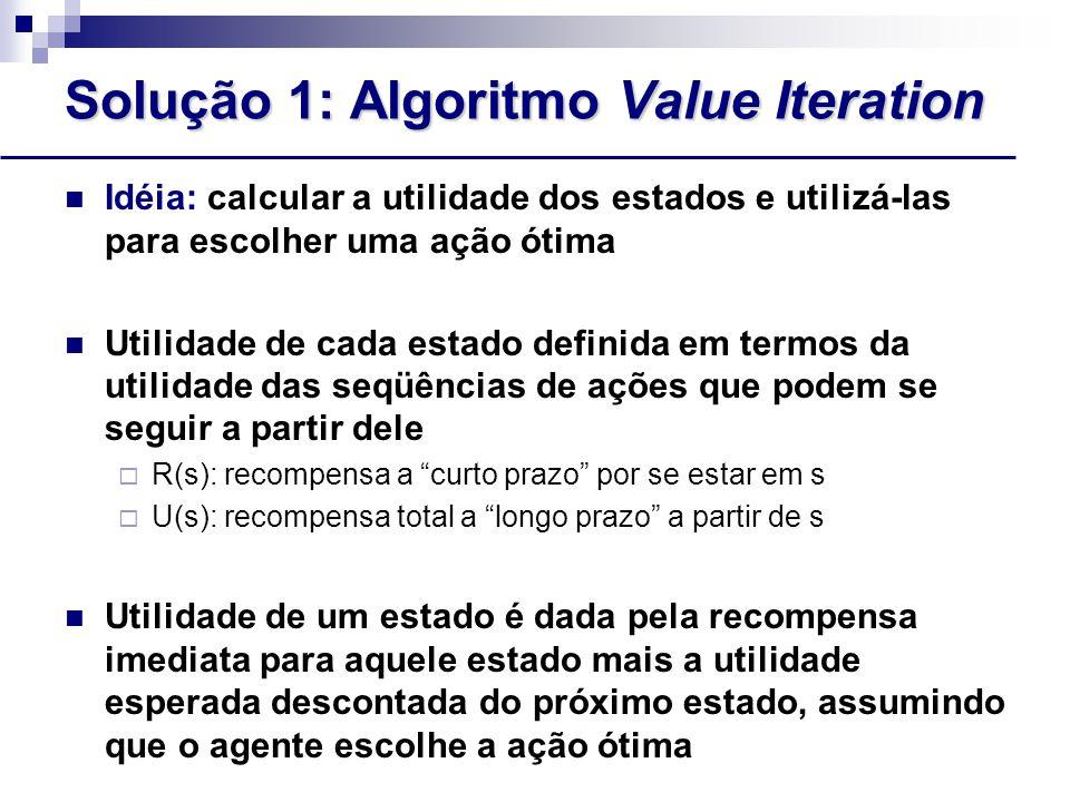 Solução 1: Algoritmo Value Iteration