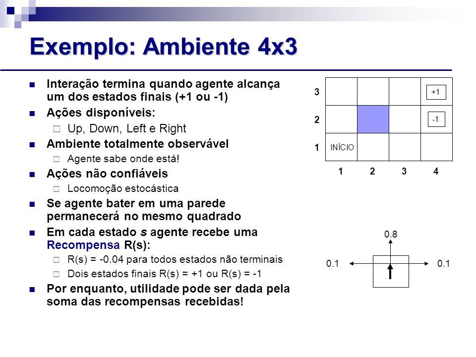 Exemplo: Ambiente 4x3 Interação termina quando agente alcança um dos estados finais (+1 ou -1) Ações disponíveis:
