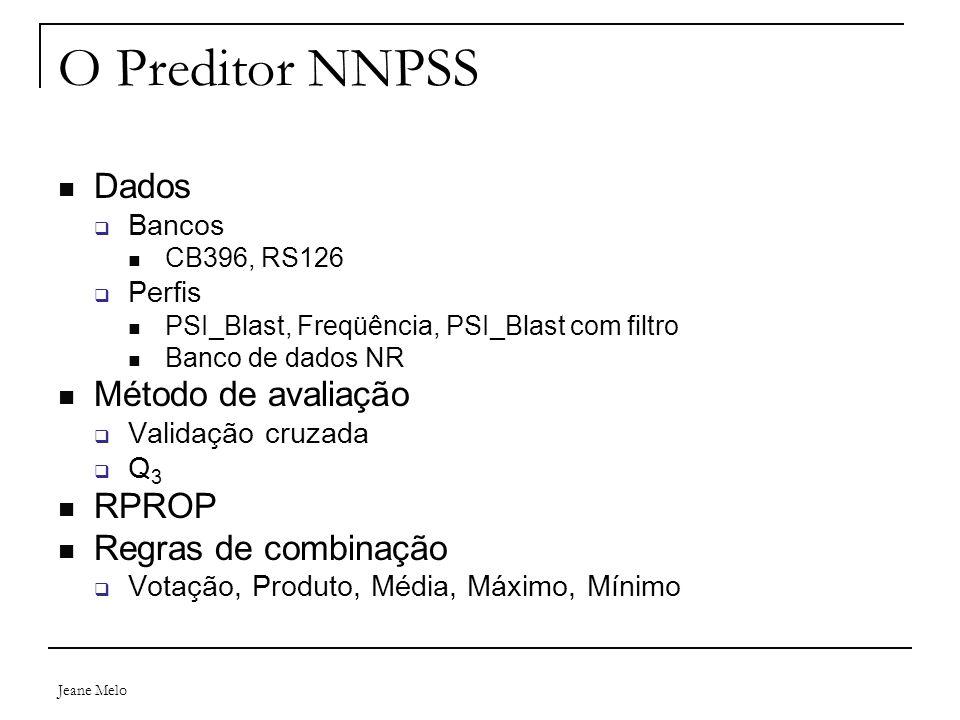 O Preditor NNPSS Dados Método de avaliação RPROP Regras de combinação