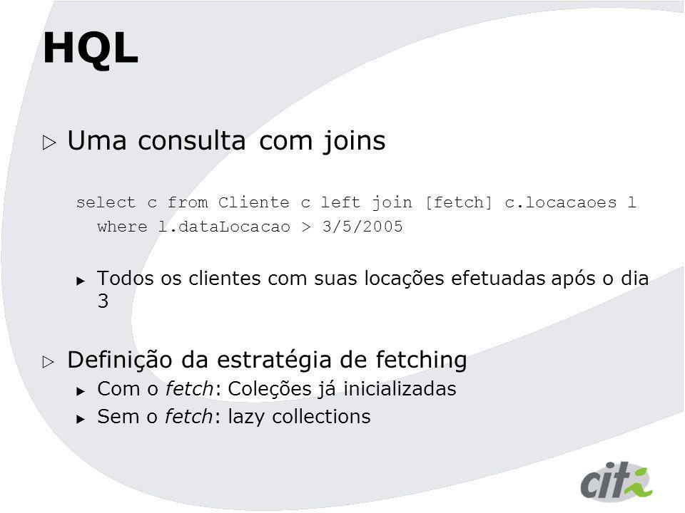 HQL Uma consulta com joins Definição da estratégia de fetching