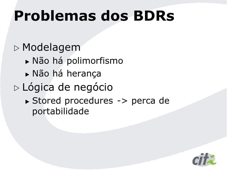 Problemas dos BDRs Modelagem Lógica de negócio Não há polimorfismo