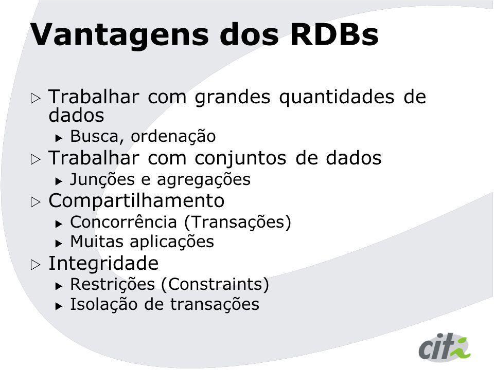 Vantagens dos RDBs Trabalhar com grandes quantidades de dados