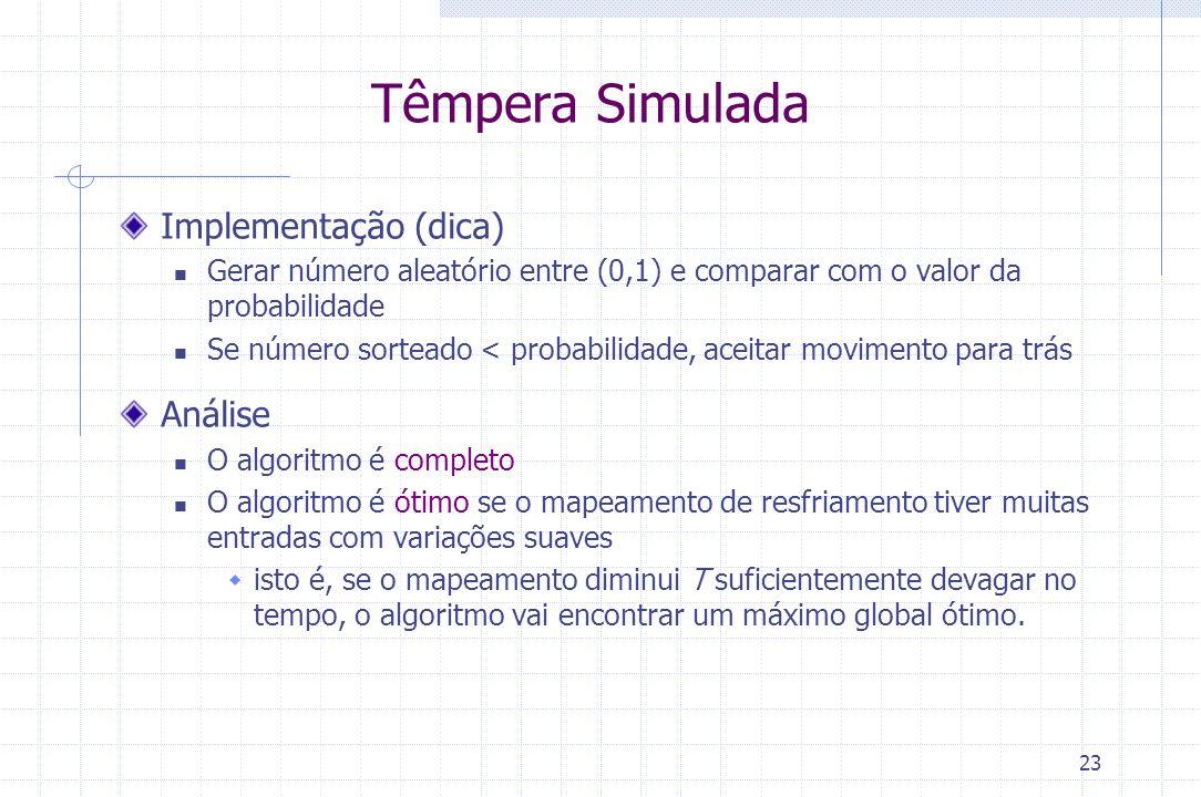 Têmpera Simulada Implementação (dica) Análise
