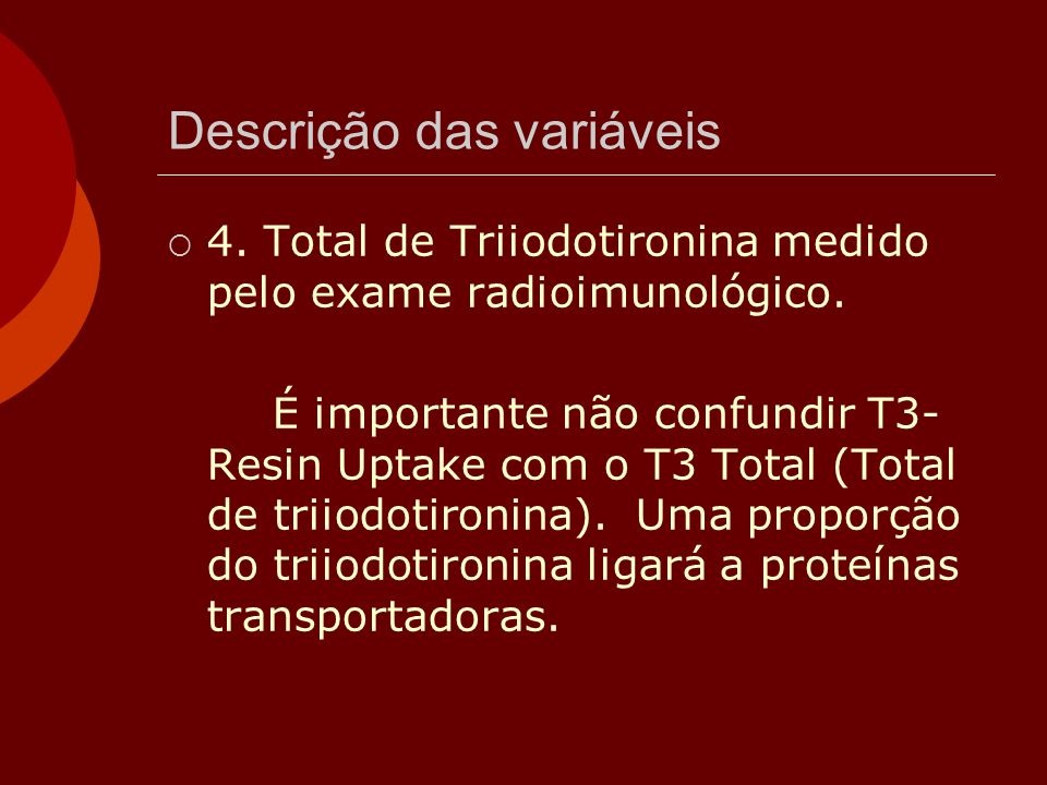 Descrição das variáveis