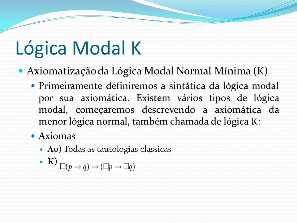Lógica Modal K Axiomatização da Lógica Modal Normal Mínima (K)