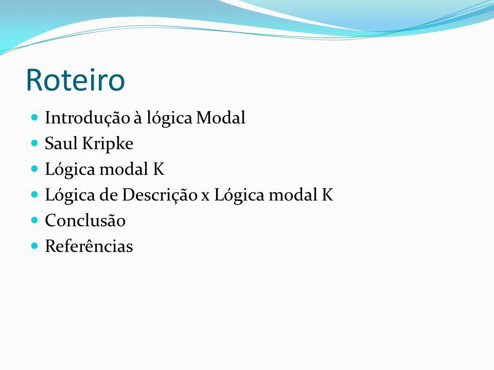 Roteiro Introdução à lógica Modal Saul Kripke Lógica modal K