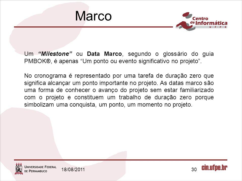Marco Um Milestone ou Data Marco, segundo o glossário do guia PMBOK®, é apenas Um ponto ou evento significativo no projeto .