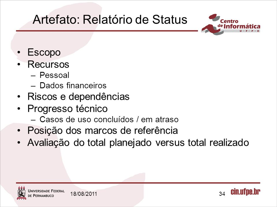 Artefato: Relatório de Status