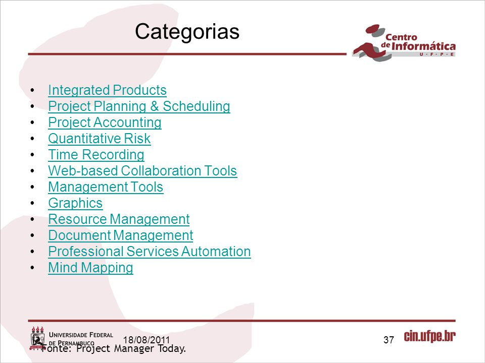 Categorias Integrated Products Project Planning & Scheduling