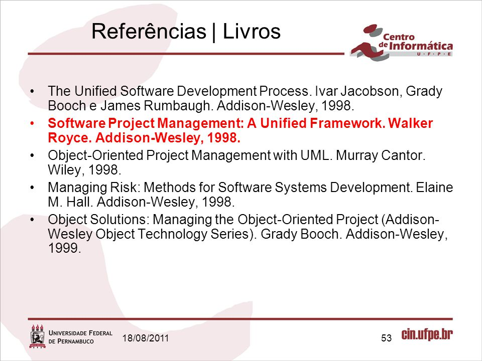 Referências | Livros The Unified Software Development Process. Ivar Jacobson, Grady Booch e James Rumbaugh. Addison-Wesley, 1998.