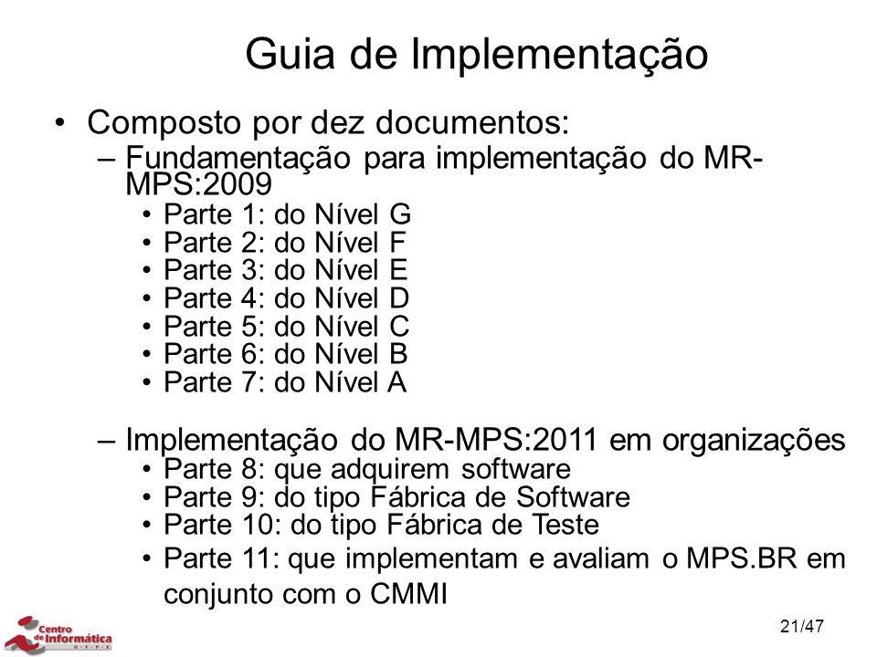 Guia de Implementação Composto por dez documentos: