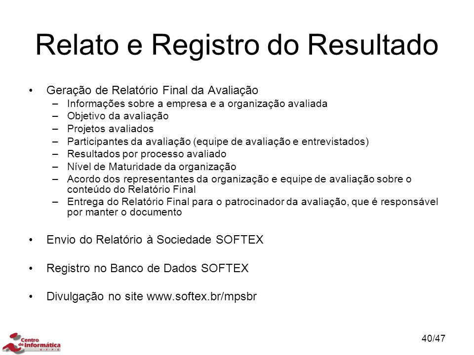 Relato e Registro do Resultado