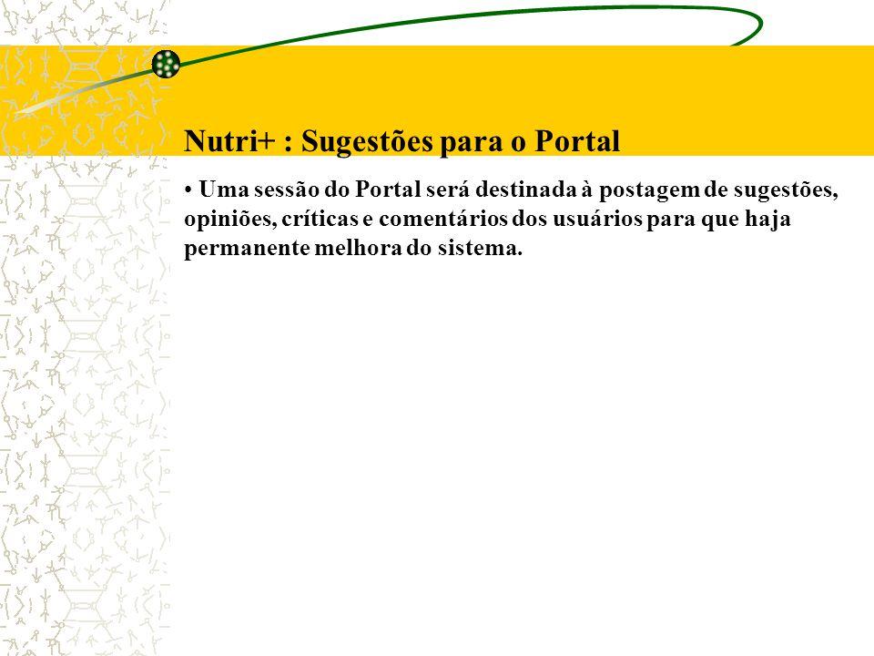 Nutri+ : Sugestões para o Portal