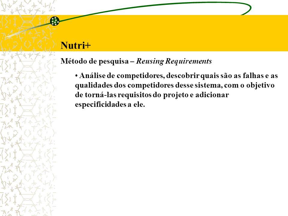 Nutri+ Método de pesquisa – Reusing Requirements