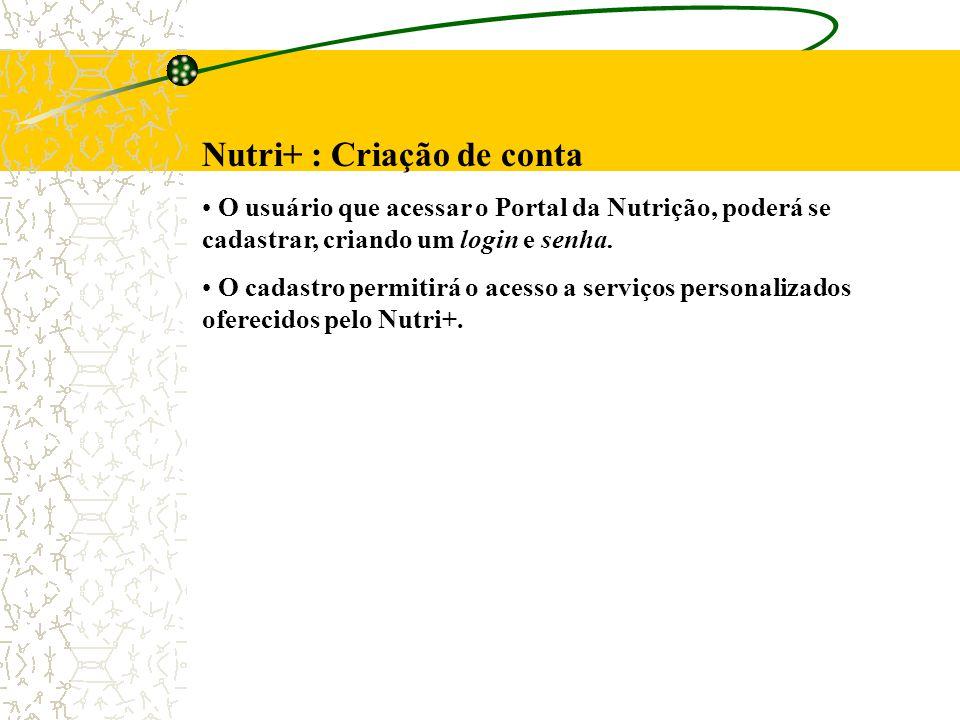Nutri+ : Criação de conta