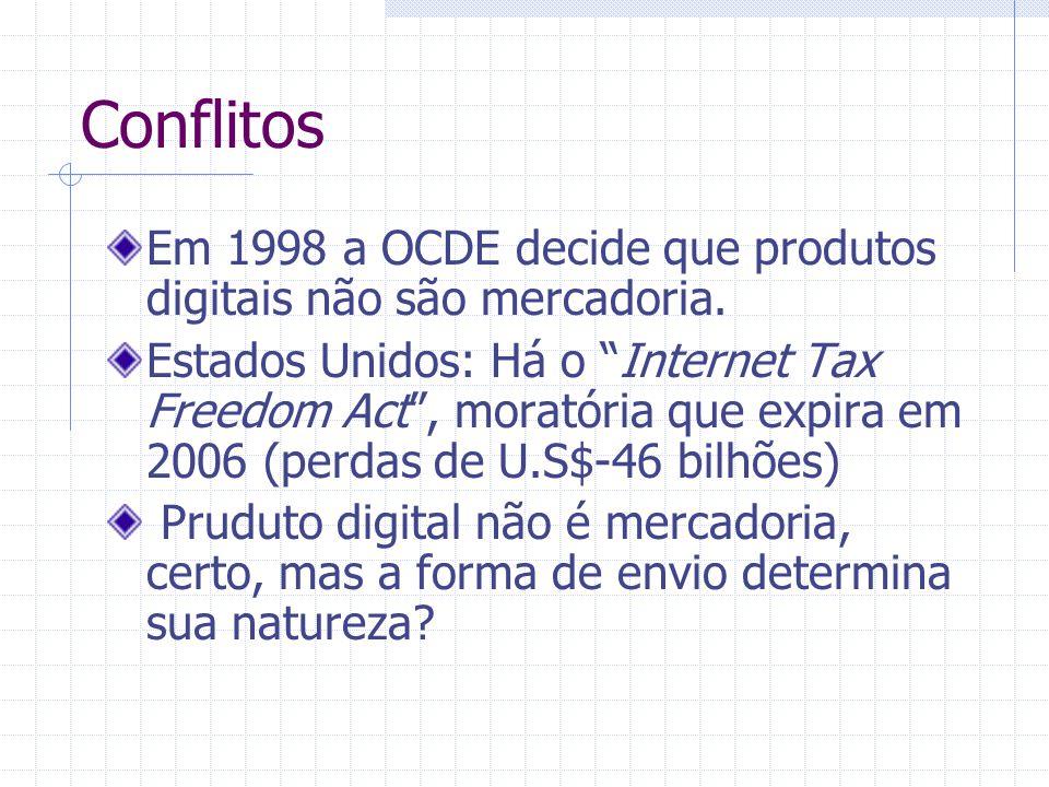 Conflitos Em 1998 a OCDE decide que produtos digitais não são mercadoria.