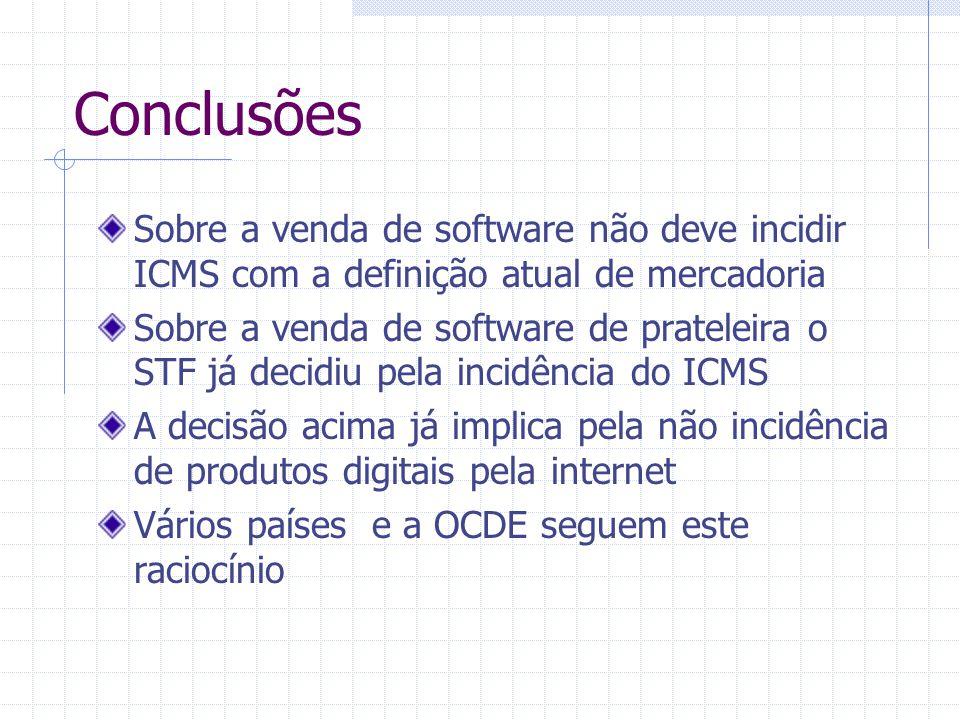 Conclusões Sobre a venda de software não deve incidir ICMS com a definição atual de mercadoria.