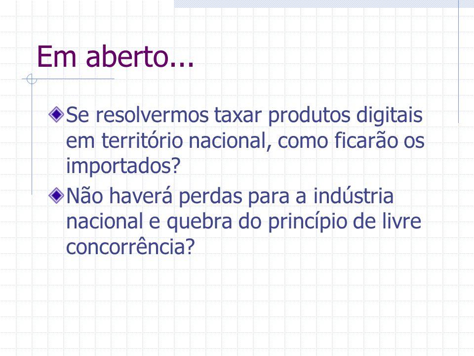 Em aberto... Se resolvermos taxar produtos digitais em território nacional, como ficarão os importados