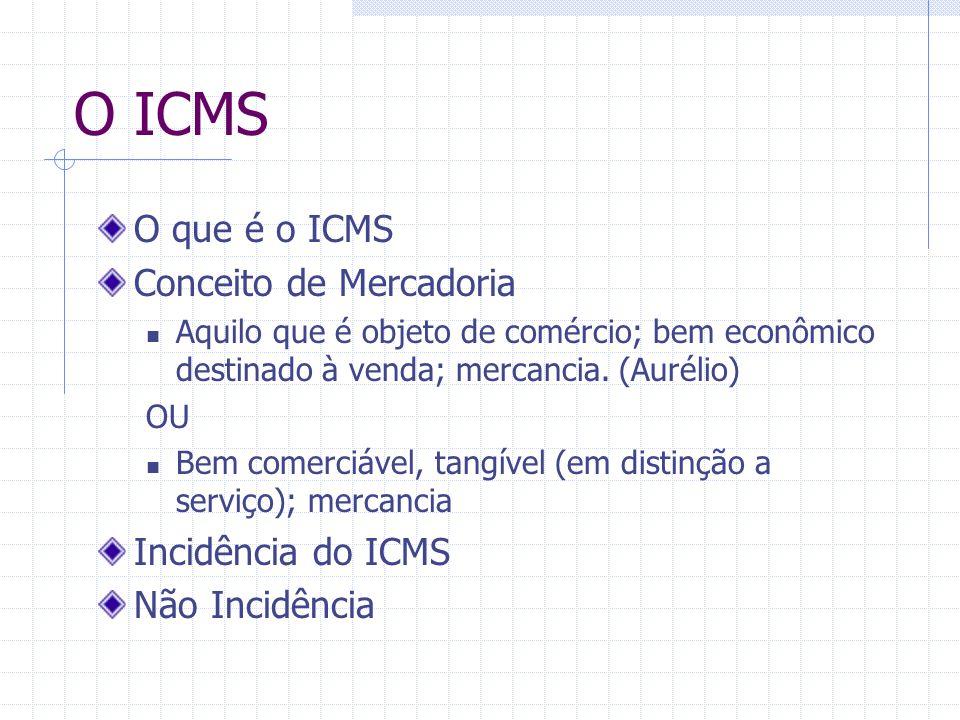 O ICMS O que é o ICMS Conceito de Mercadoria Incidência do ICMS