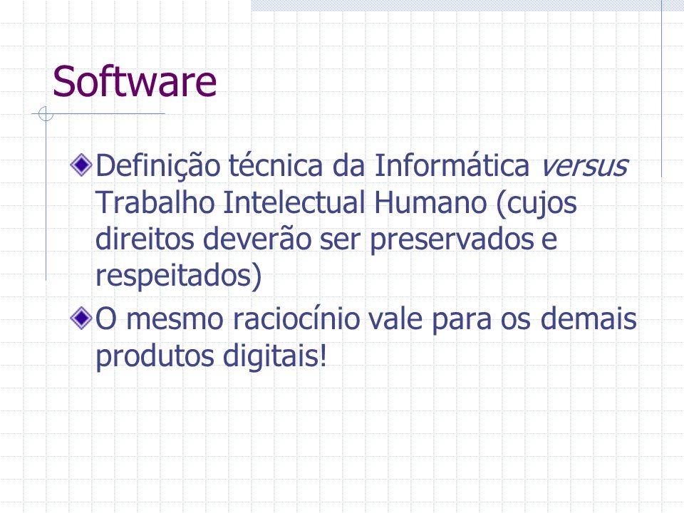 Software Definição técnica da Informática versus Trabalho Intelectual Humano (cujos direitos deverão ser preservados e respeitados)