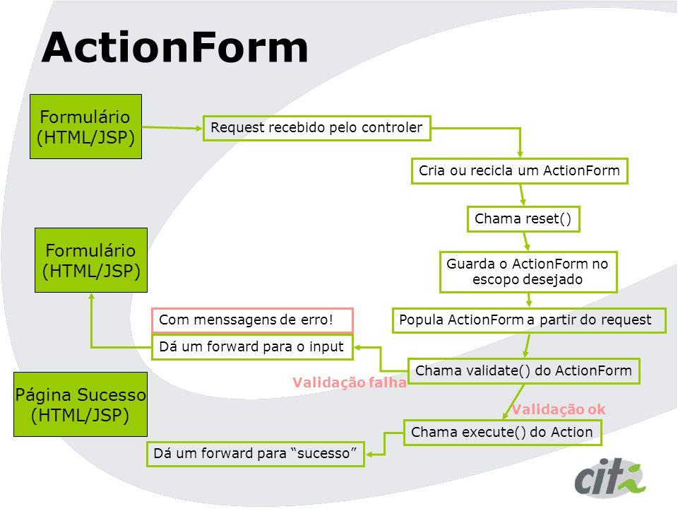 ActionForm Formulário (HTML/JSP) Formulário (HTML/JSP) Página Sucesso