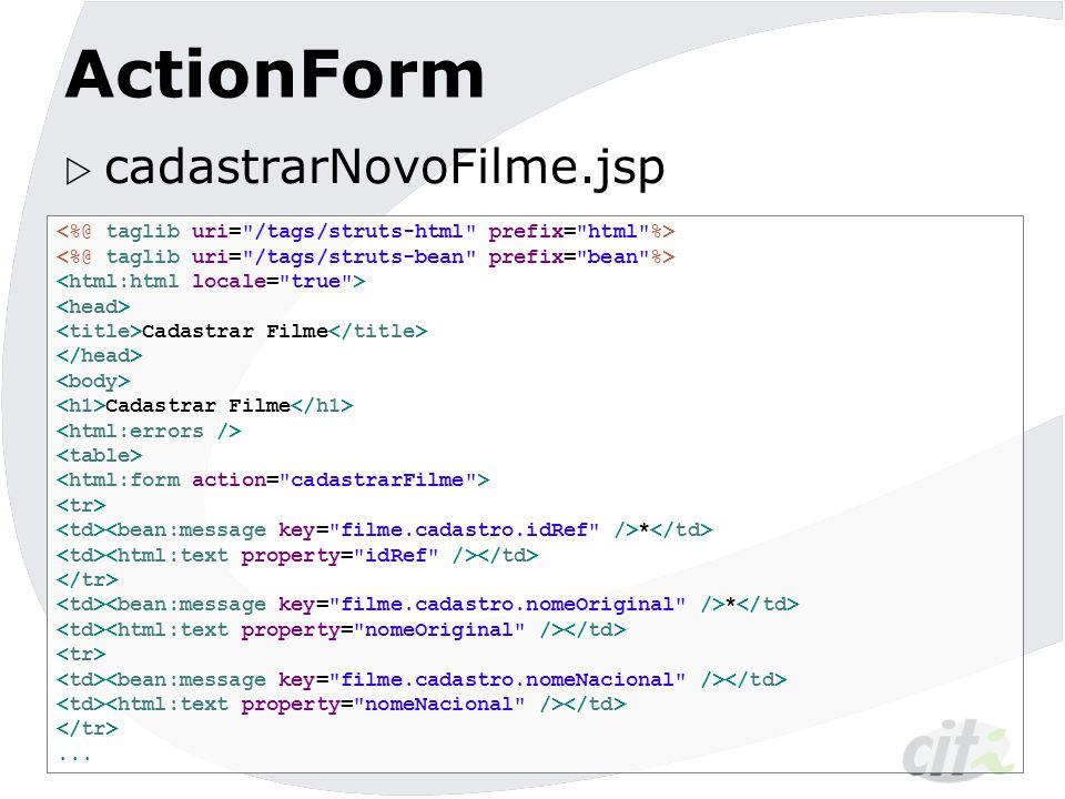 ActionForm cadastrarNovoFilme.jsp