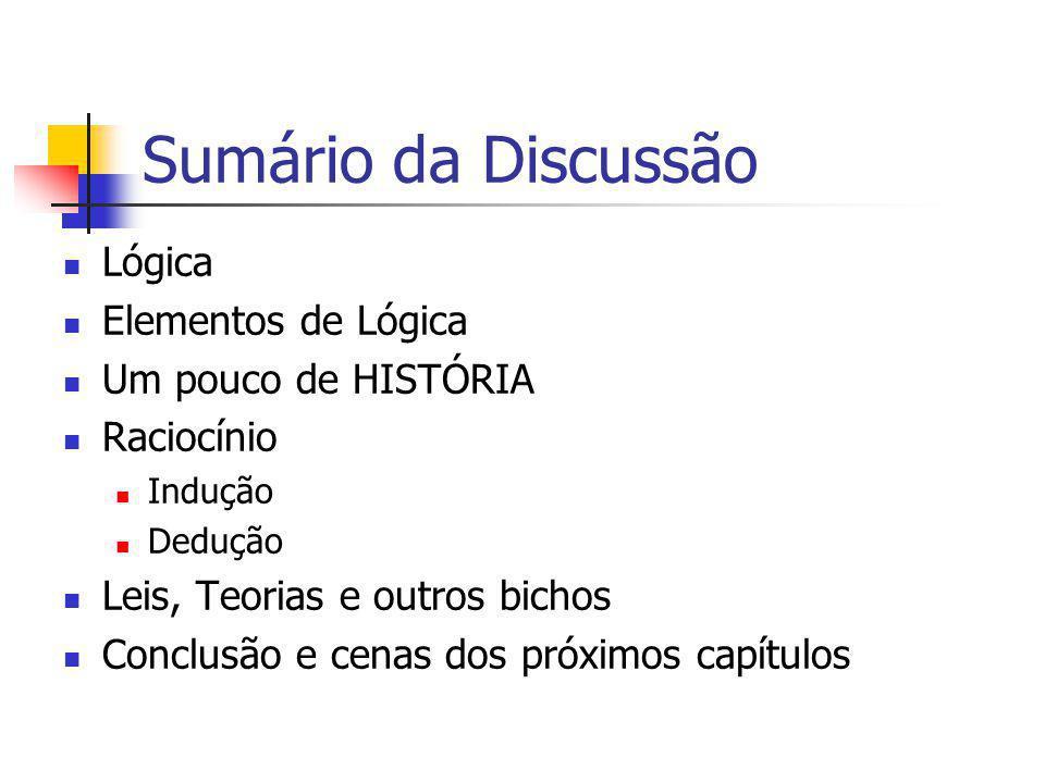 Sumário da Discussão Lógica Elementos de Lógica Um pouco de HISTÓRIA