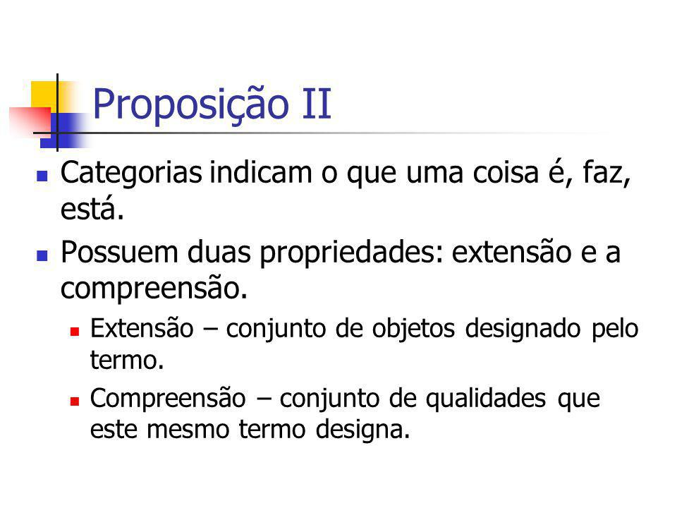 Proposição II Categorias indicam o que uma coisa é, faz, está.