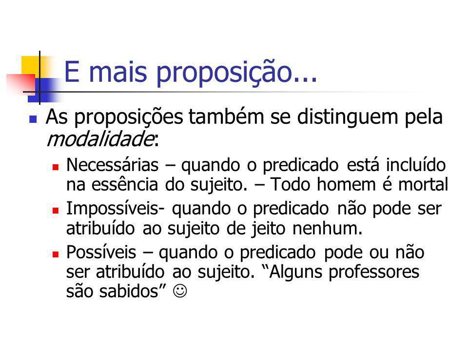 E mais proposição... As proposições também se distinguem pela modalidade: