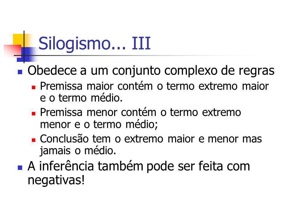 Silogismo... III Obedece a um conjunto complexo de regras
