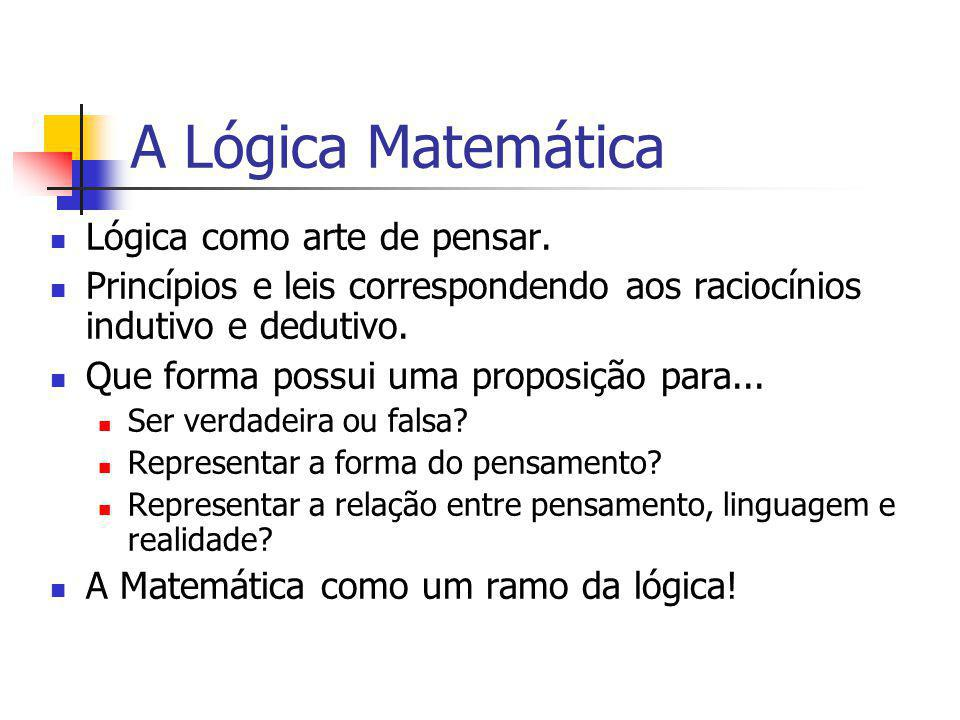 A Lógica Matemática Lógica como arte de pensar.