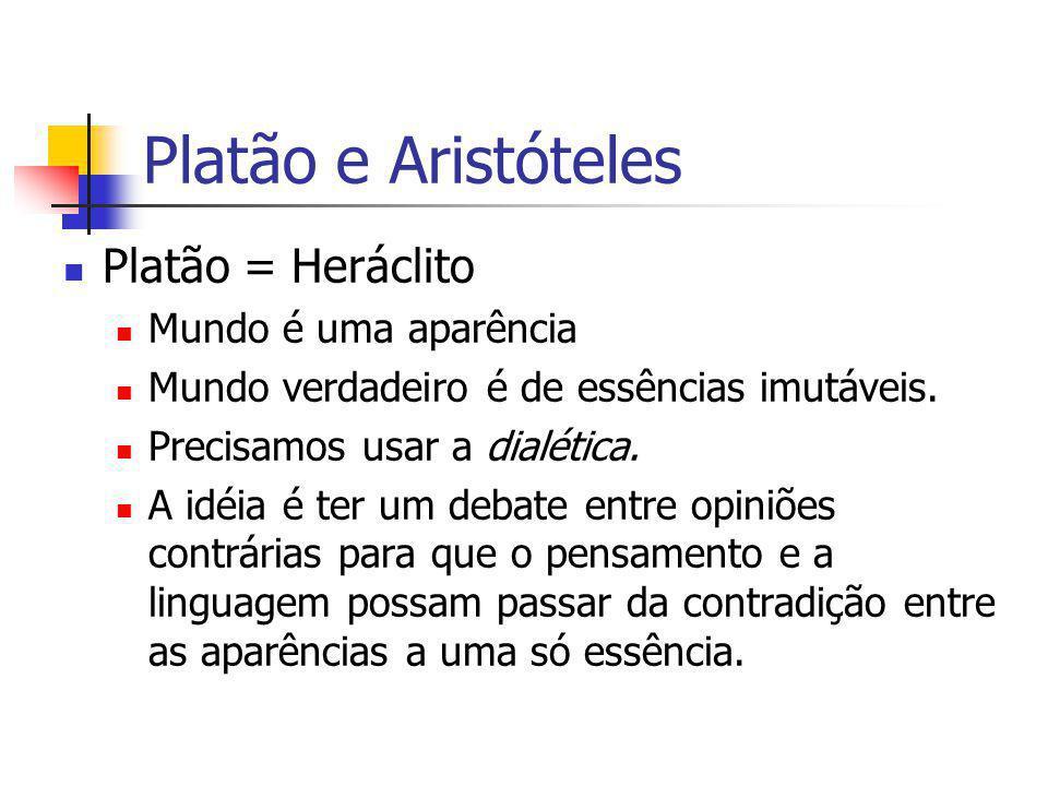 Platão e Aristóteles Platão = Heráclito Mundo é uma aparência