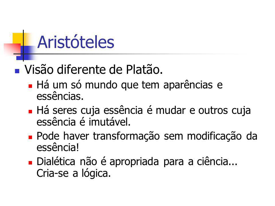 Aristóteles Visão diferente de Platão.