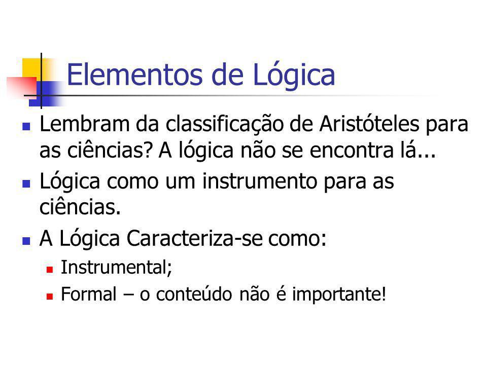 Elementos de Lógica Lembram da classificação de Aristóteles para as ciências A lógica não se encontra lá...
