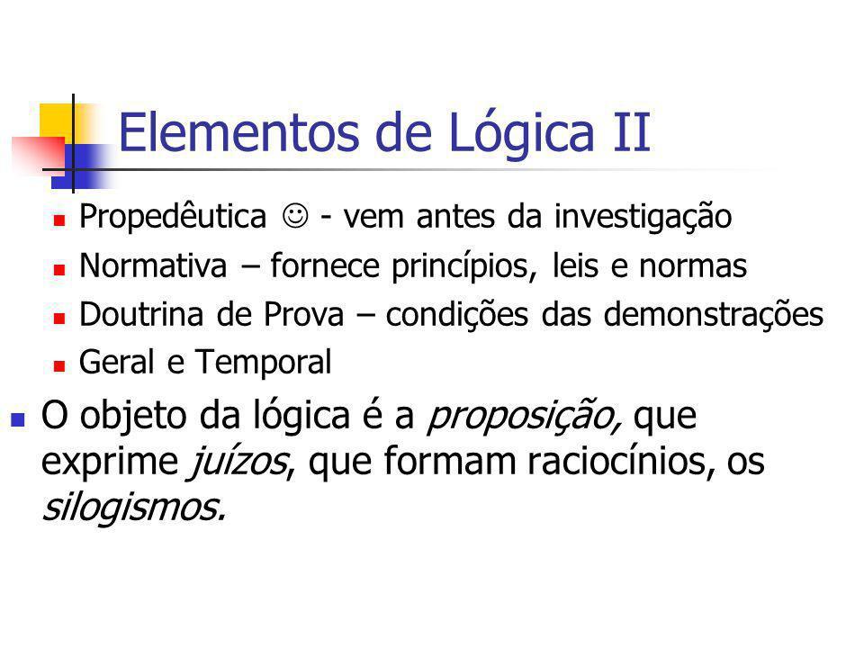 Elementos de Lógica II Propedêutica  - vem antes da investigação. Normativa – fornece princípios, leis e normas.