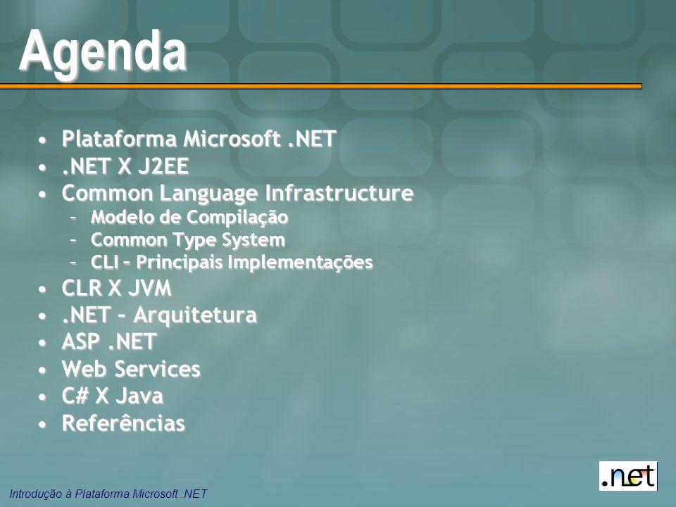 Agenda Plataforma Microsoft .NET .NET X J2EE