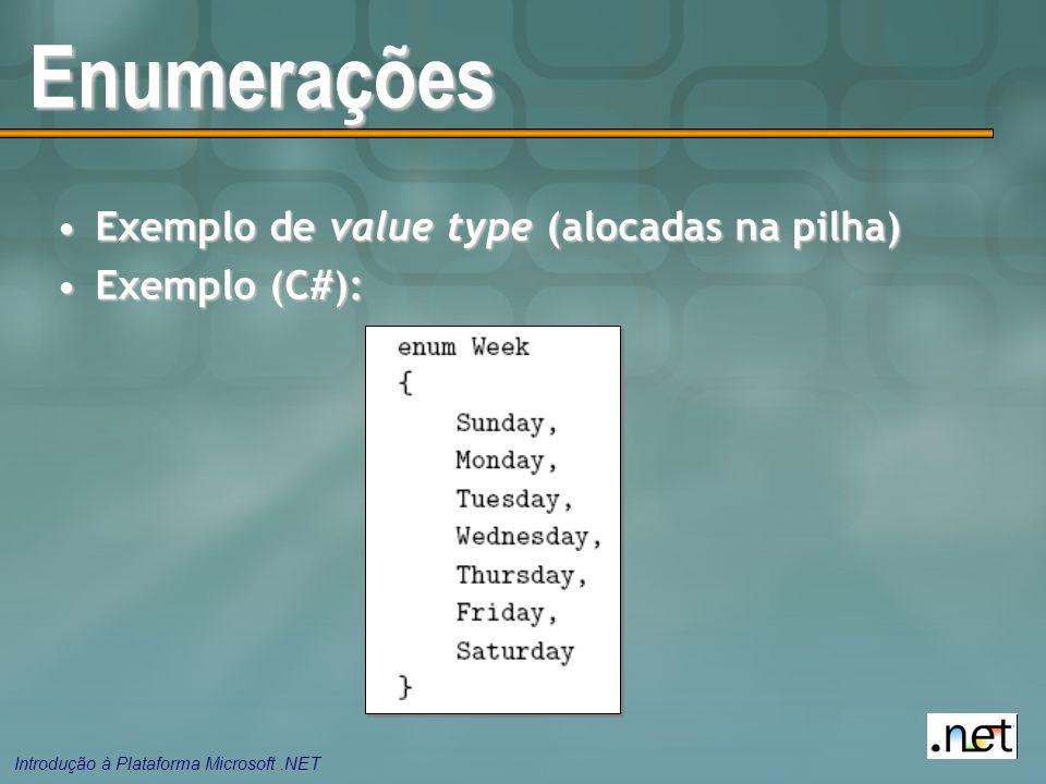 Enumerações Exemplo de value type (alocadas na pilha) Exemplo (C#):