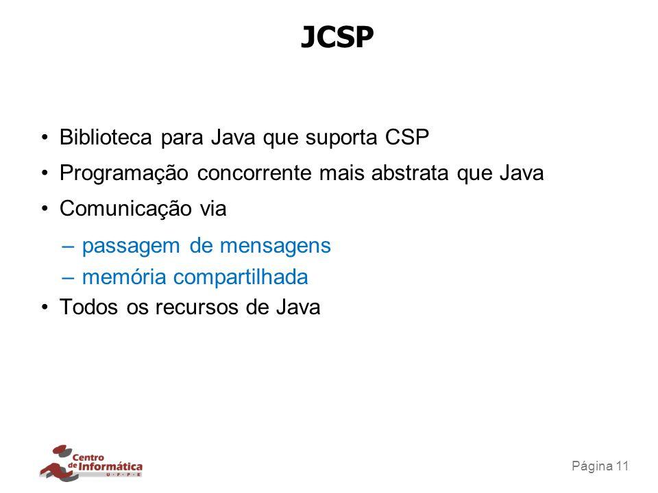 Traduzir CSP para JCSP Aproxima a fase de especificação de uma implementação. Valida os requisitos especificados operacionalmente (execução)