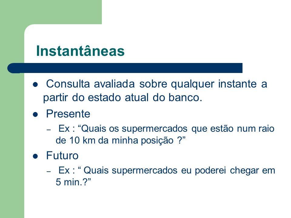 Instantâneas Consulta avaliada sobre qualquer instante a partir do estado atual do banco. Presente.