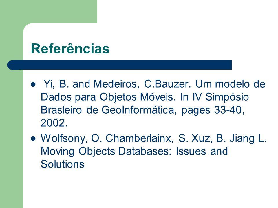 Referências Yi, B. and Medeiros, C.Bauzer. Um modelo de Dados para Objetos Móveis. In IV Simpósio Brasleiro de GeoInformática, pages 33-40, 2002.