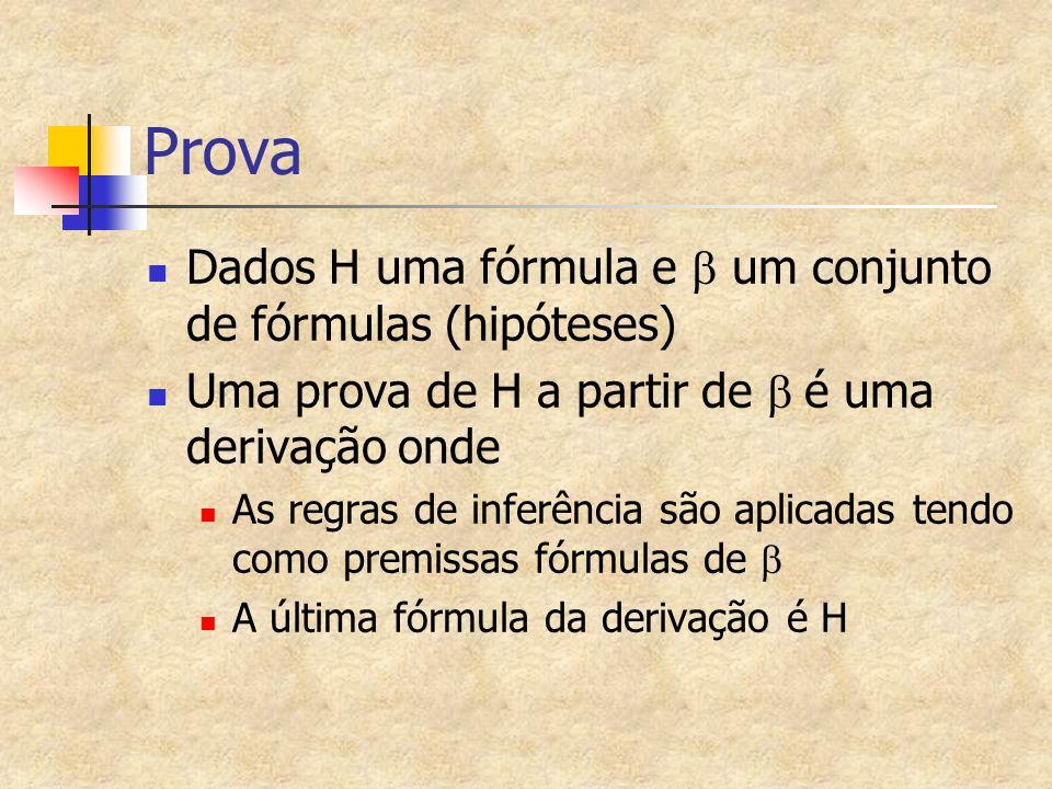 Prova Dados H uma fórmula e b um conjunto de fórmulas (hipóteses)