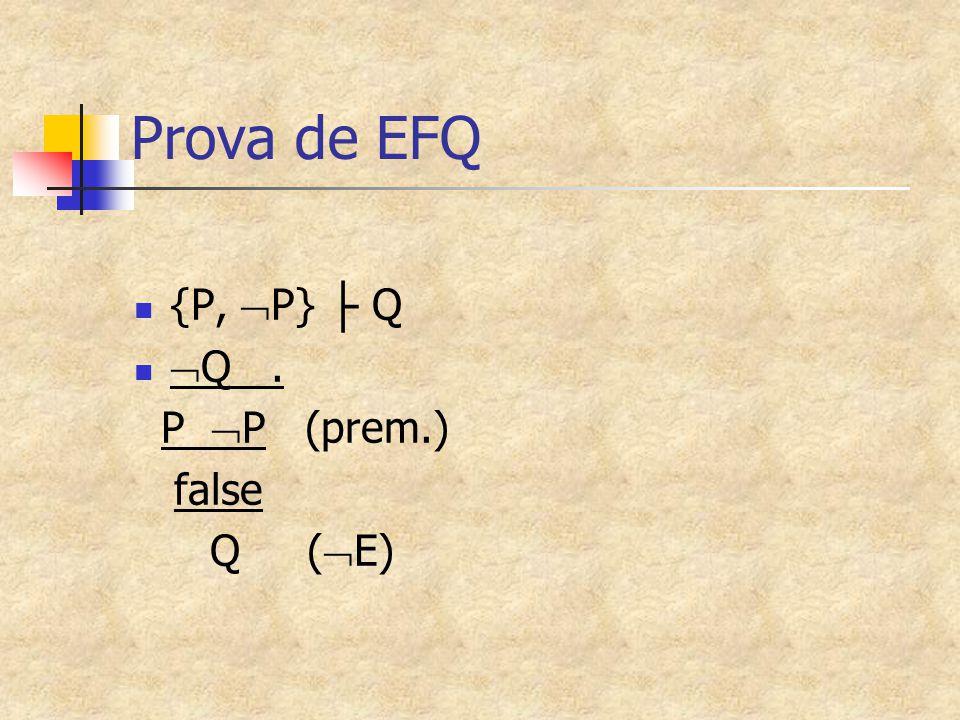 Prova de EFQ {P, P} ├ Q Q . P P (prem.) false Q (E)