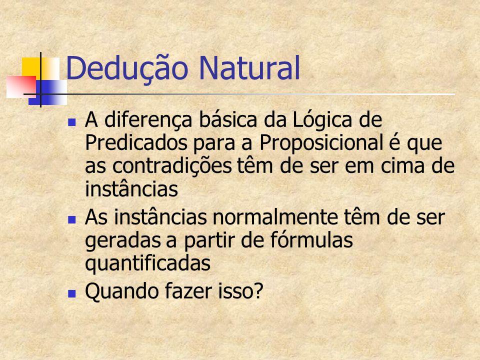 Dedução Natural A diferença básica da Lógica de Predicados para a Proposicional é que as contradições têm de ser em cima de instâncias.