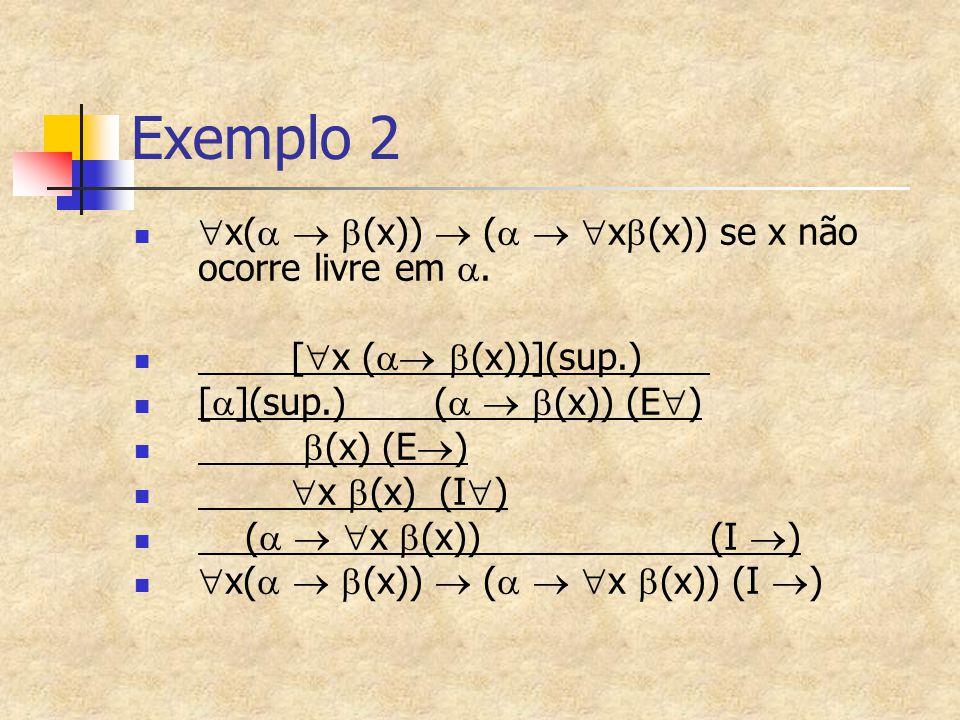 Exemplo 2 x(  (x))  (  x(x)) se x não ocorre livre em .