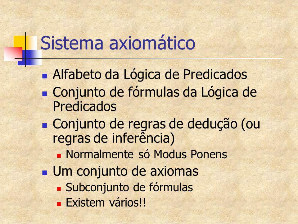 Sistema axiomático Alfabeto da Lógica de Predicados