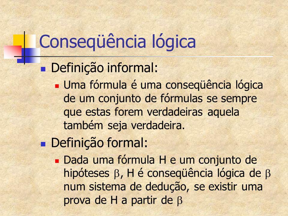 Conseqüência lógica Definição informal: Definição formal: