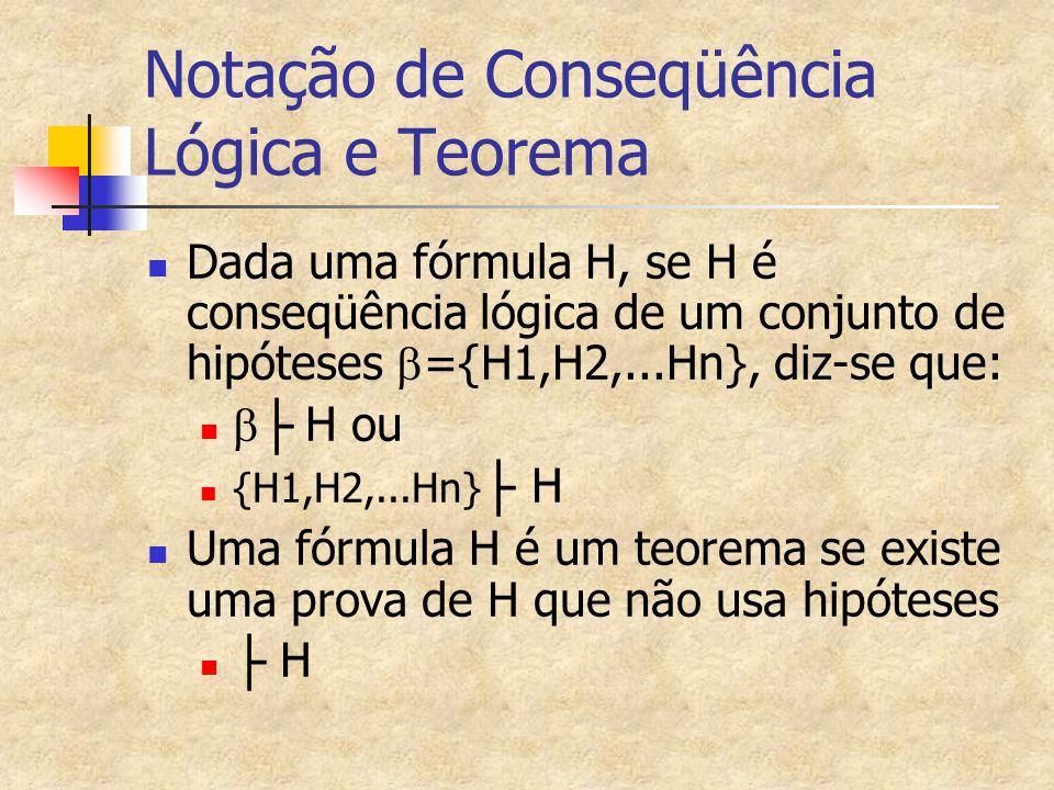 Notação de Conseqüência Lógica e Teorema