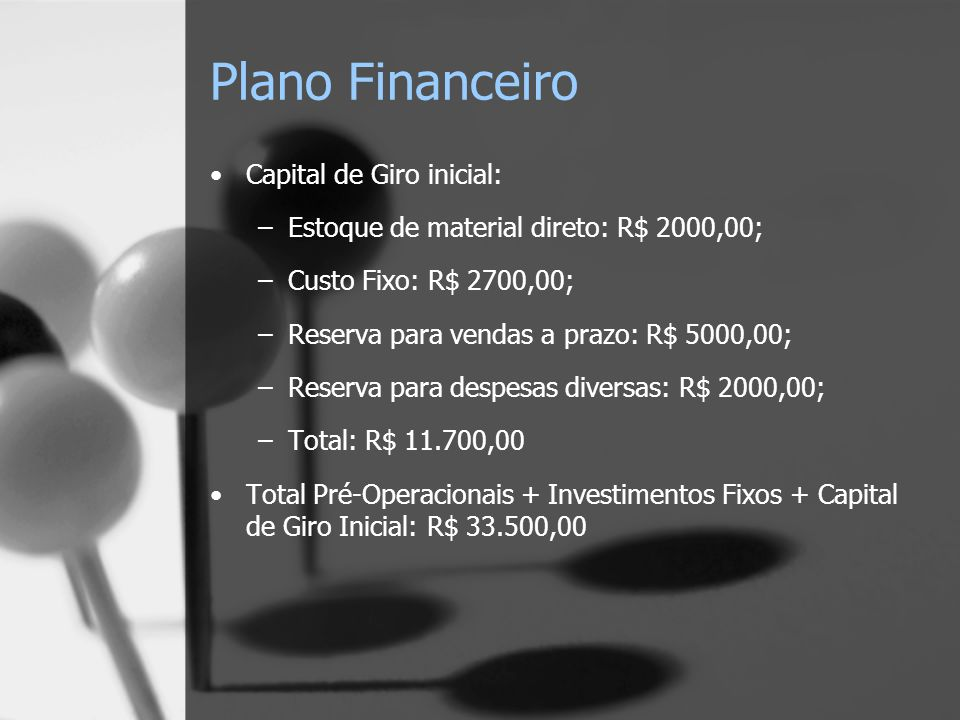 Plano Financeiro Capital de Giro inicial: