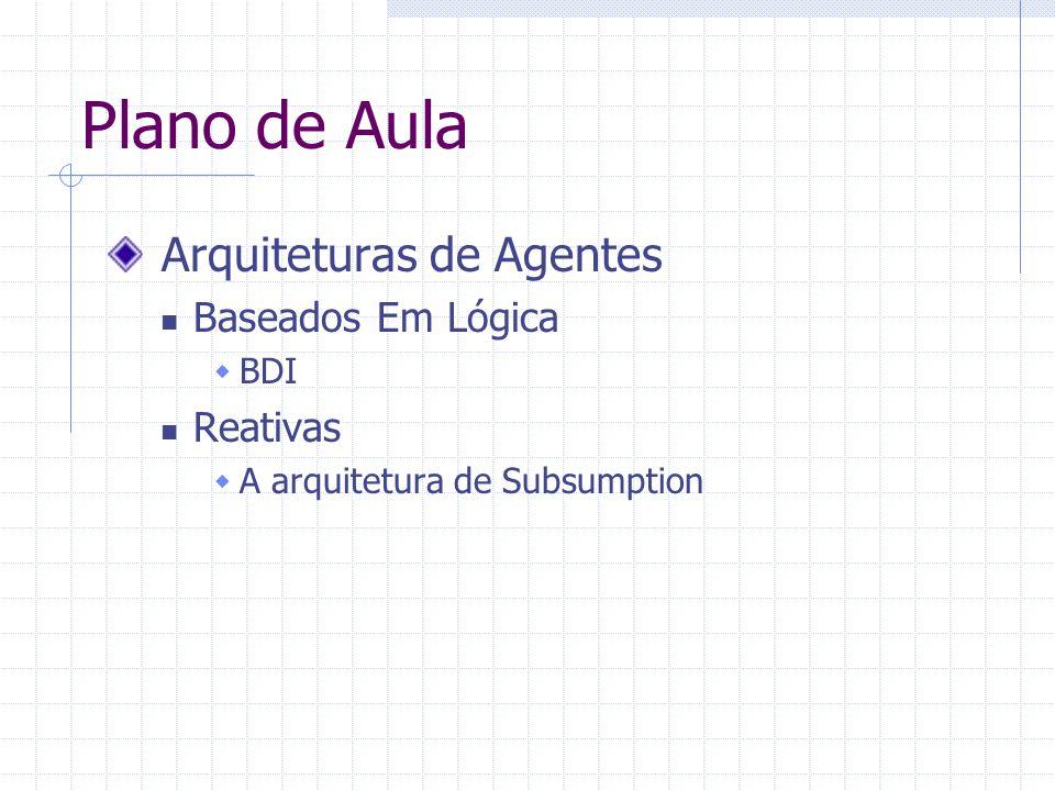 Plano de Aula Arquiteturas de Agentes Baseados Em Lógica Reativas BDI