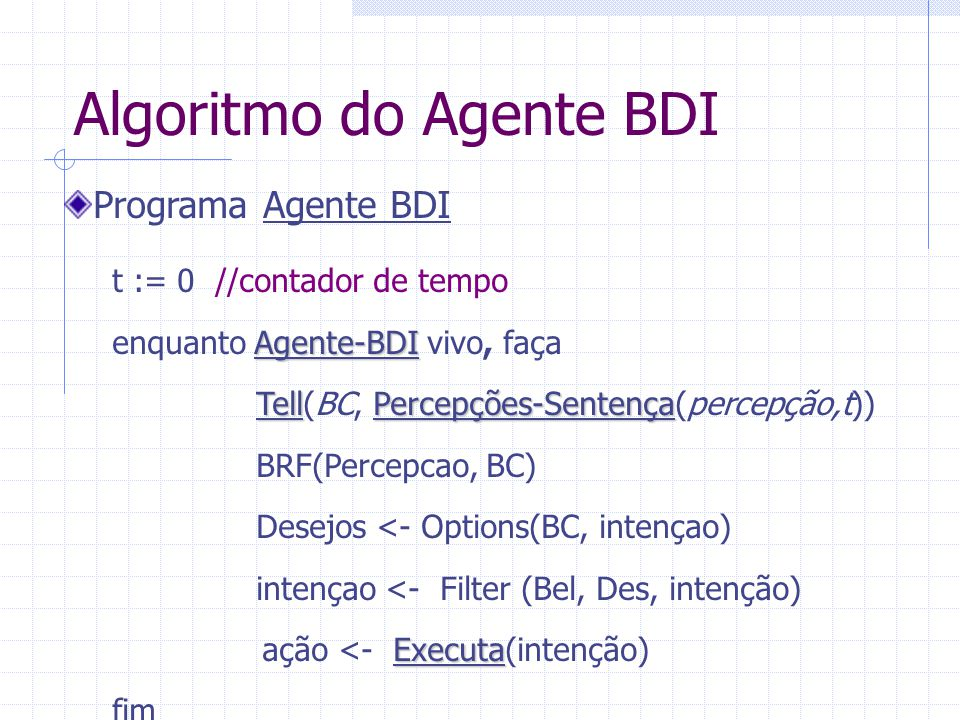Algoritmo do Agente BDI